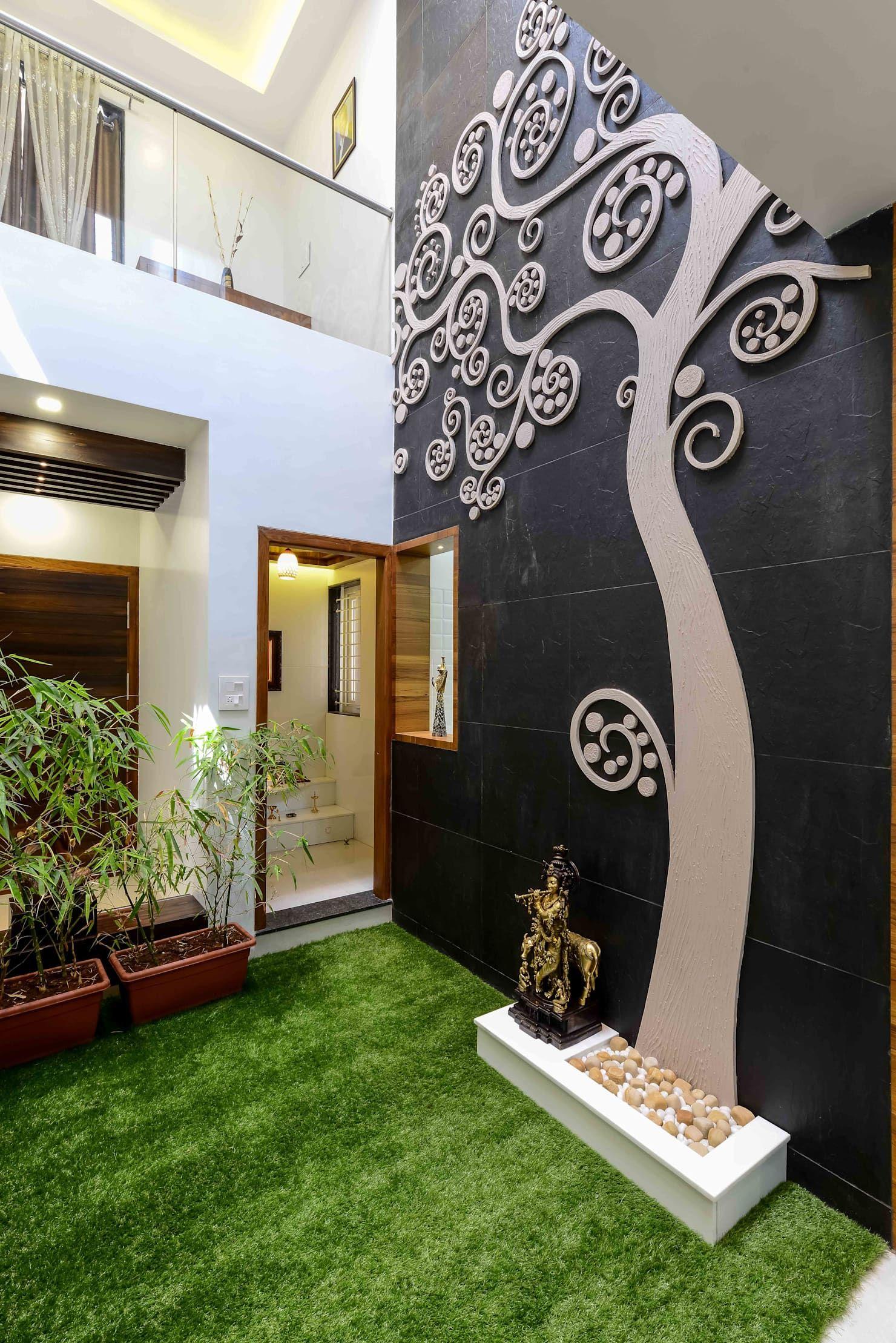 Courtyard With Mandir Minimalist Living Room By A B Design Studio Minimalist In 2020 Bungalow Design Interior Design Your Home Home Room Design