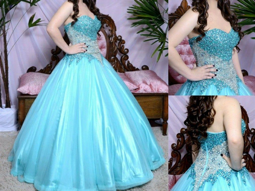 Turquoise tiffany blue dress sweet sixteen princess dress prom