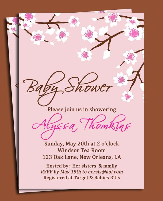 Cherry Blossom Invitation Printable or Printed with FREE SHIPPING - how to word a baby shower invitation