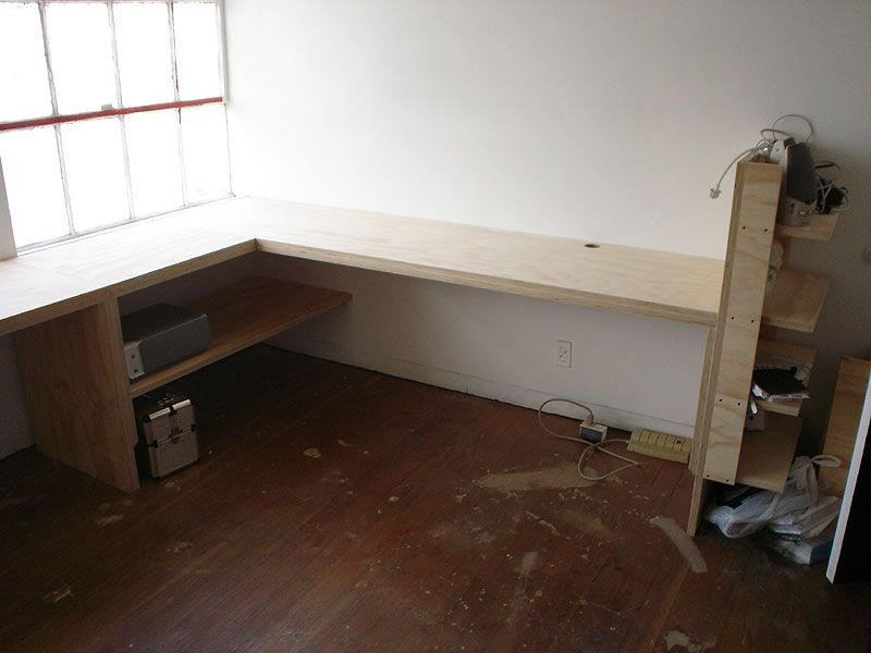 Custom Built Office Desk Made From 1 Plywood Installed In