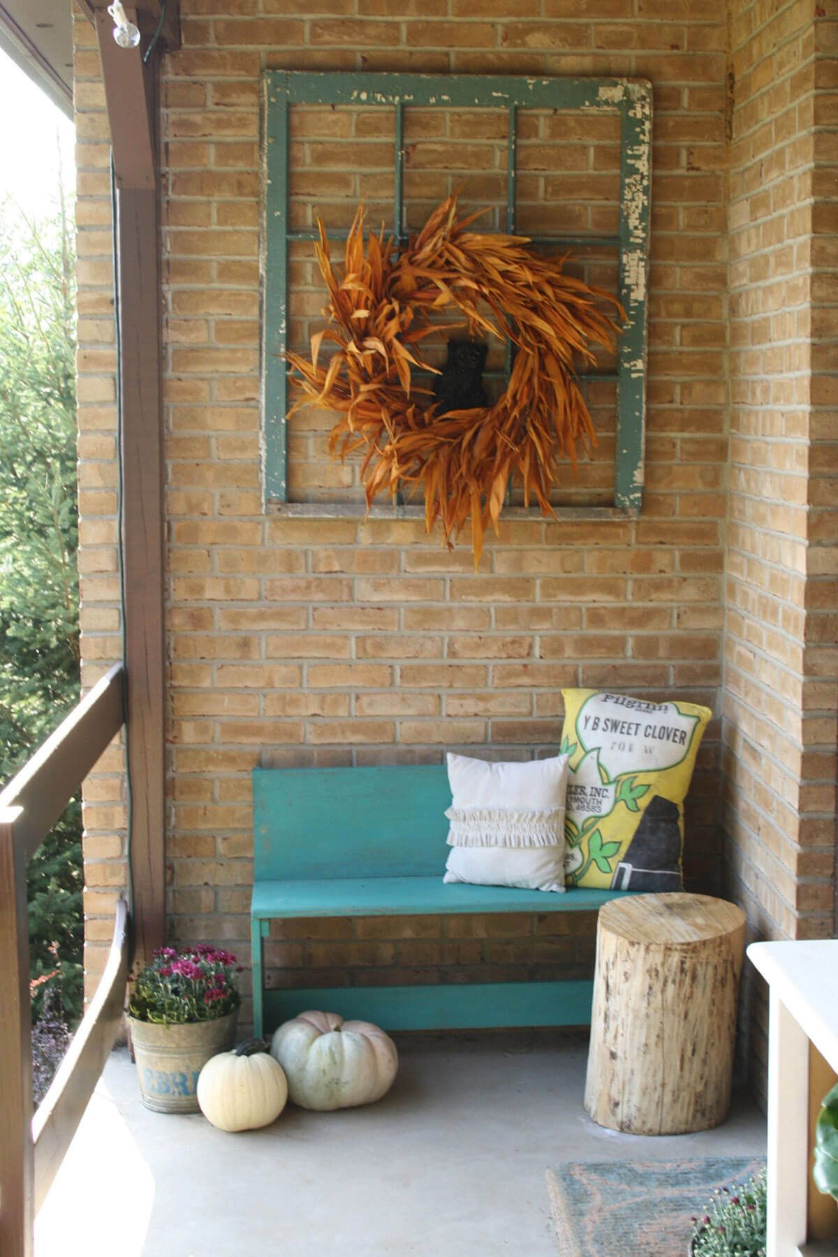 Window frame decor with wreath   beautiful porch wall decor ideas to make your outdoor area more