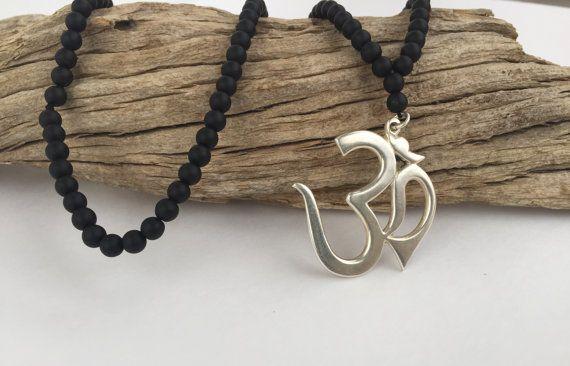 Large Om Symbol Pendant unisex  Onyx Necklace by OliviaLolaBijoux