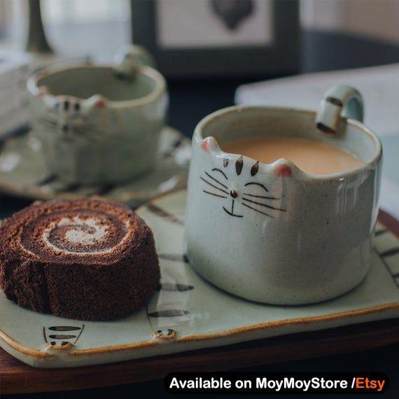 Kawaii Cat Mugs Set For Cat Lovers / Couple Mug / Christmas Gift / Special Gift For Cat Lovers / Coffee Mug / Dessert Plate / Kitty Cat Mug