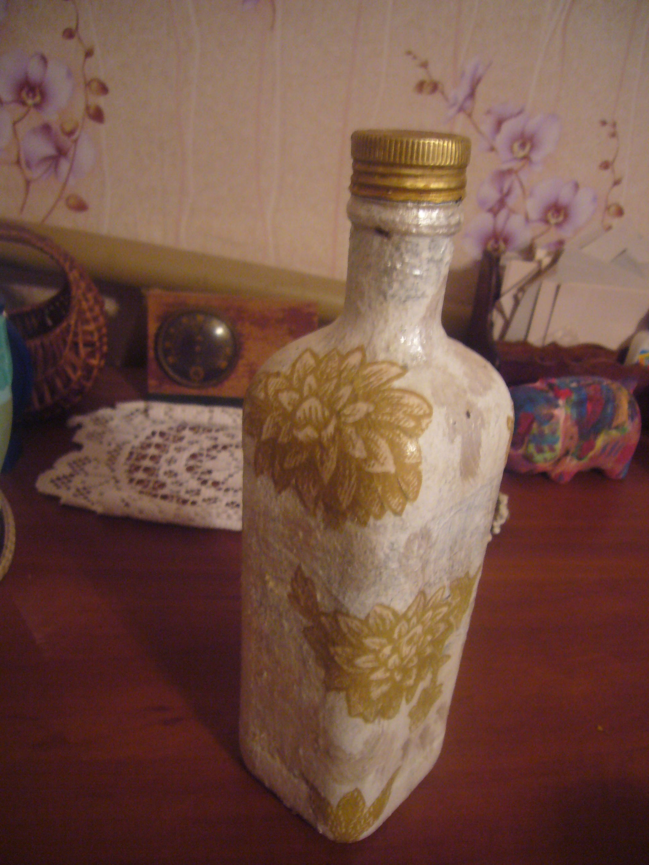 glass bottle decoupage, decoupage, upcycling