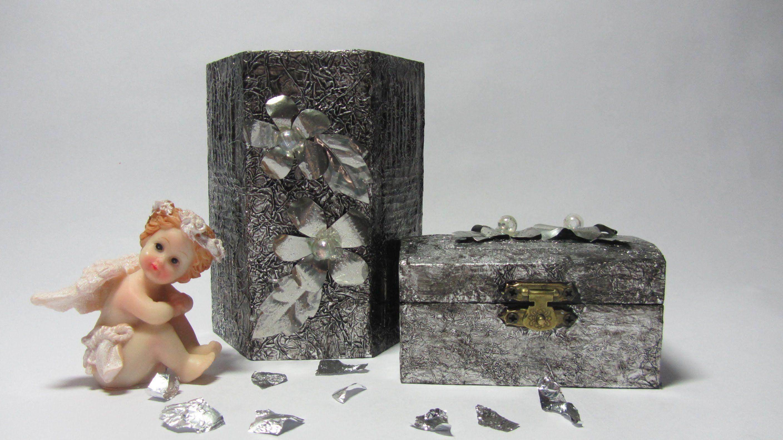 Decoraci n de objetos con aluminio reciclaje con papel - Manualidades pintar caja metal ...