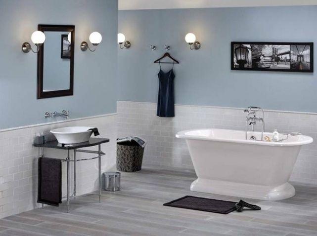 Carreaux reglette peinture salle de bain pinterest - Salle de bain feminine ...