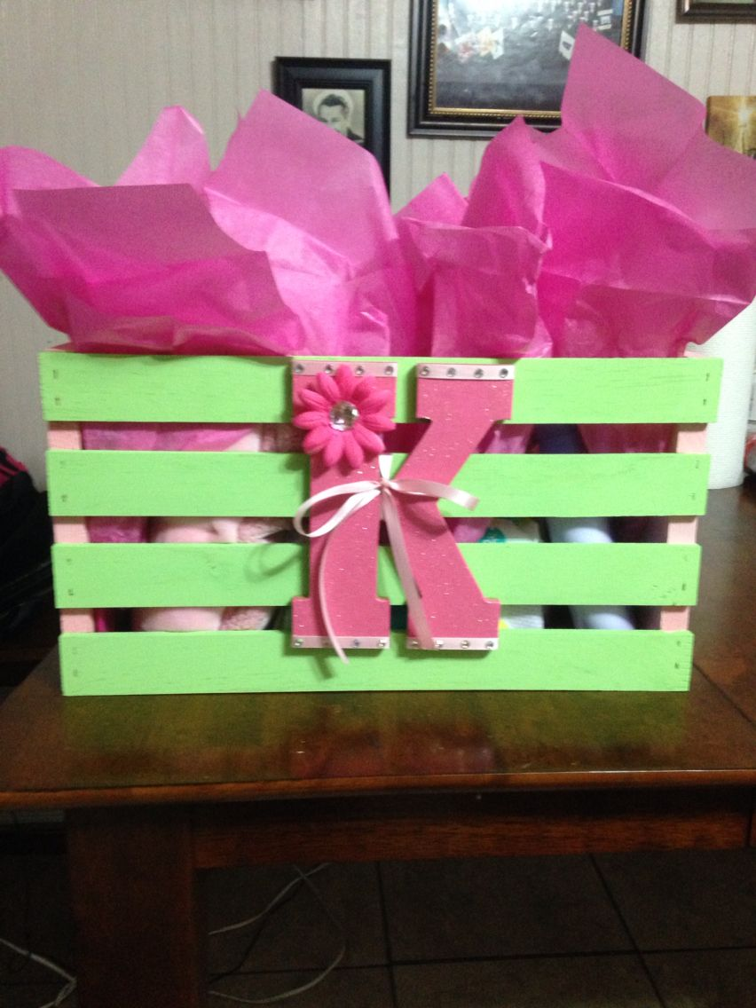 Baby Shower Gift Crate From Walmart Painted To Match Babies Room Filled With Goodies For Bab