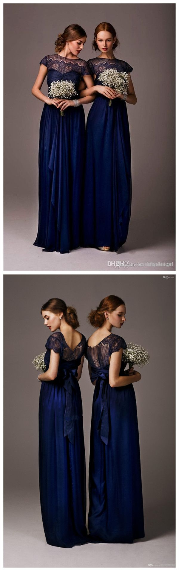 Dark blue wedding dress   Navy Blue Bateau Sheer Lace Long Cheap bridesmaid Dresses Cap
