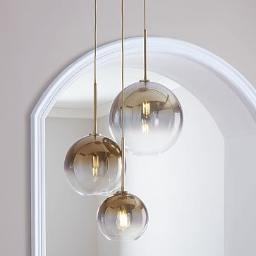 Sculptural Glass 3 Light Round Globe Chandelier S M L Globe Gold Ombre Shade Brass Canopy Glass Globe Chandelier Glass Lighting Chandelier Lighting