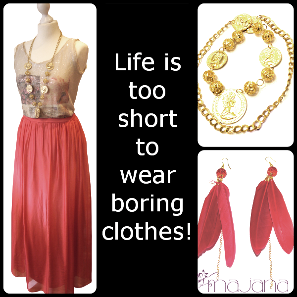 Life is too short to wear boring clothes Maxirock aus Seide Federohrringe Münzkette www.majana-fashion.de