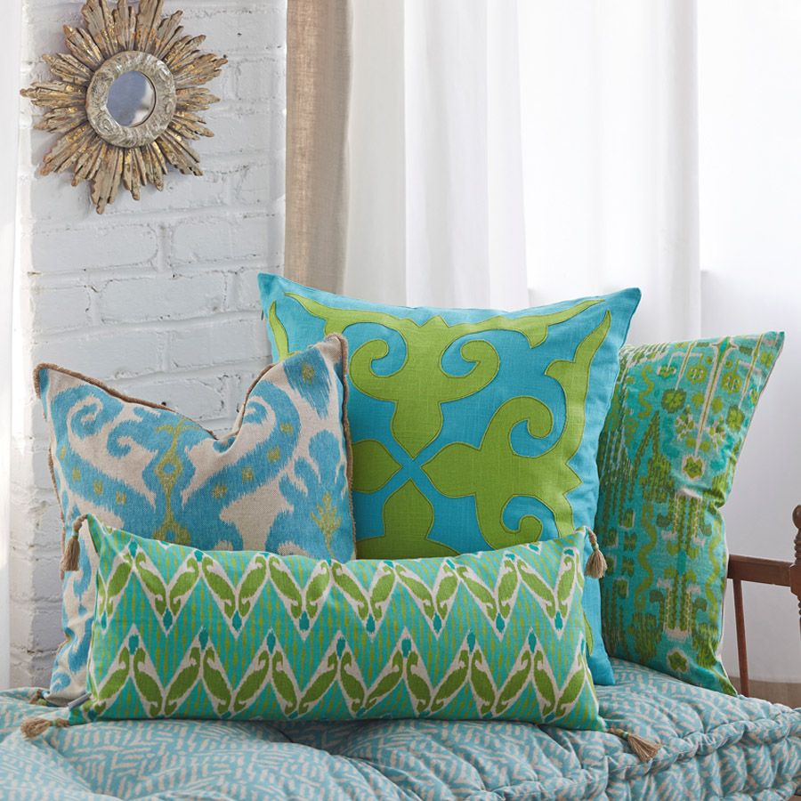Lacefield Designs Lime & Turquoise pillow collection www.lacefielddesigns.com #pillows #applique #ikat