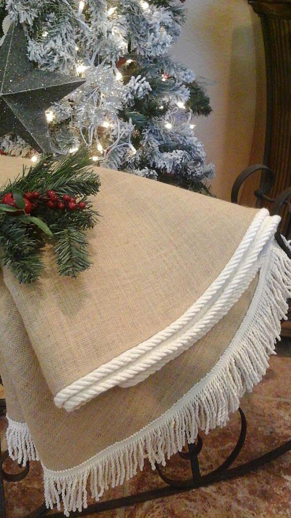 White Burlap Christmas Tree Skirt Fully Lined