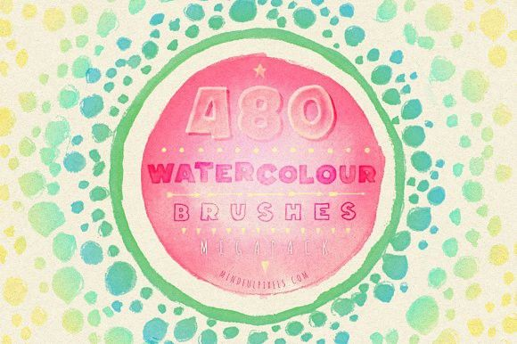 480 Watercolour Brushes Bundle. Brushes