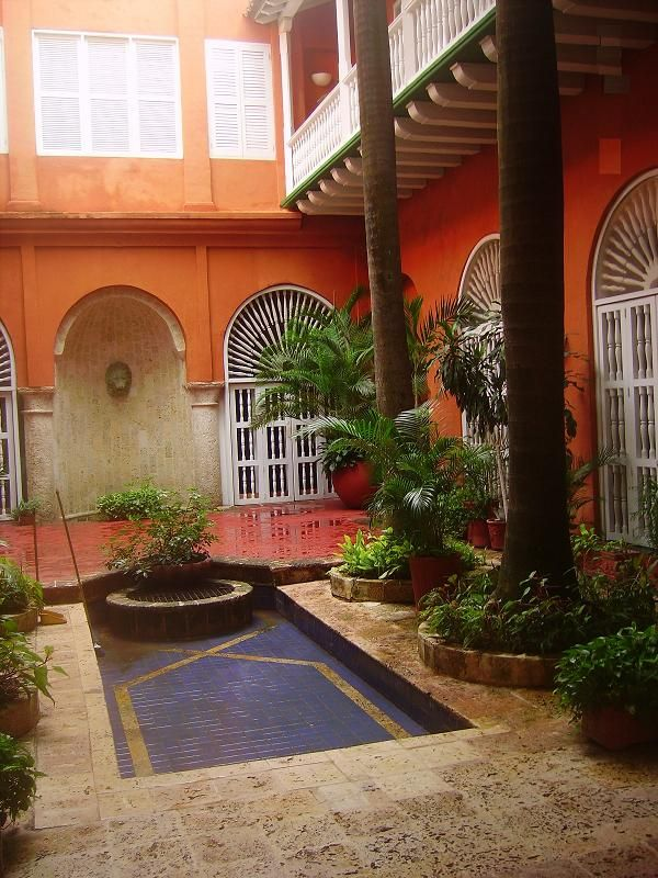 Tropical Spanish colonial courtyard- Cartagena, Colombia Street
