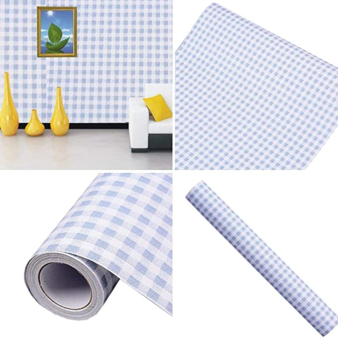 Amazon Com Self Adhesive Vinyl Decorative Blue Gingham Contact Paper Shelf And Drawer Liner 17 7x78 Inch Home Impro In 2020 Drawer Liner Adhesive Vinyl Contact Paper