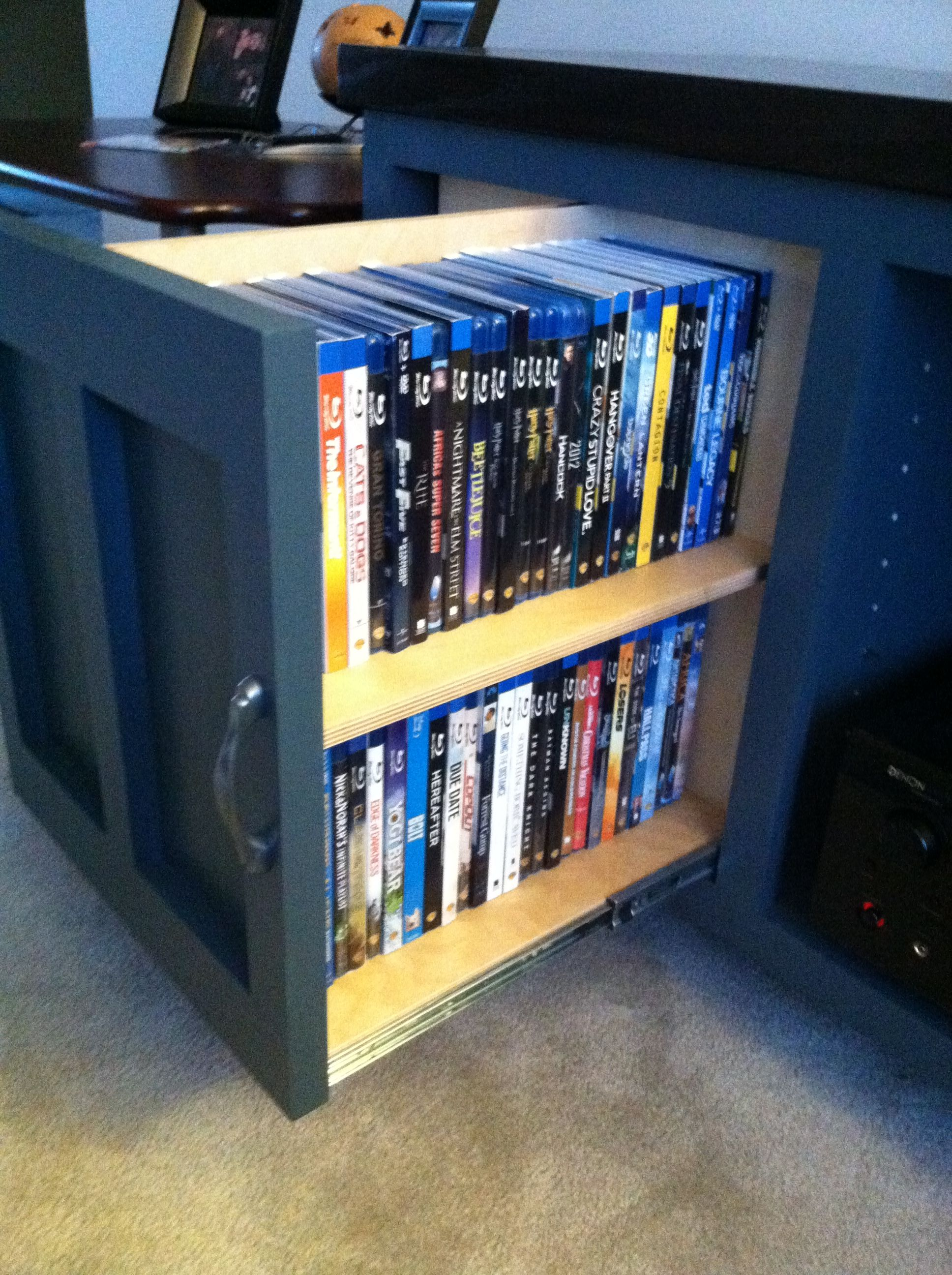 This Is A Pull Out Dvd Blu Ray Storage On My Tv Console In