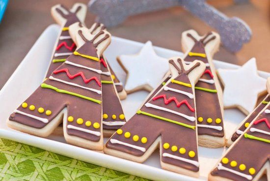 Peter Pan birthday party - teepee cookies (we are on a huge Peter Pan kick right now, I hope it lasts til dec 2013!)