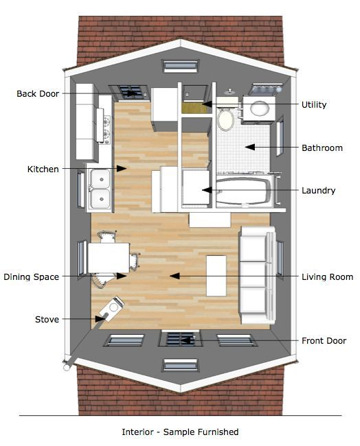 Tumbleweed Tiny House Interior | The Pioneeru0027s Cabin U2013 16×20 Tiny House  Plans |