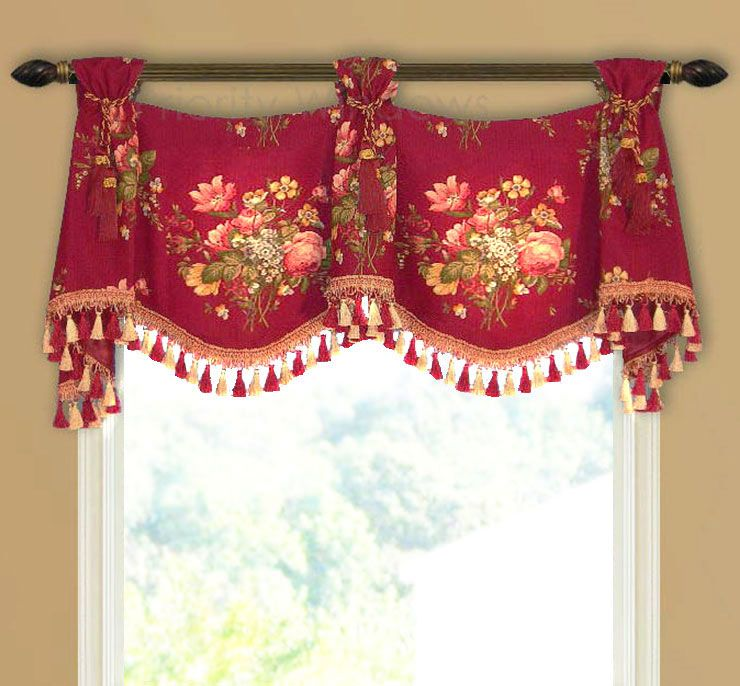 Red And Gold Trumpet And Jabot Valance #curtains