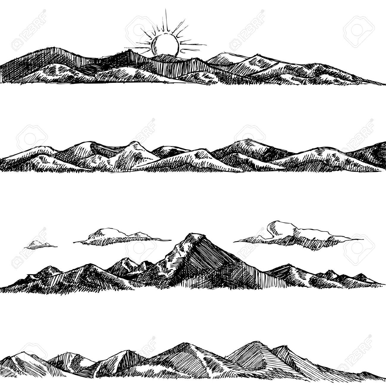 Line Drawing Sunrise : Mountains drawing google search block printing