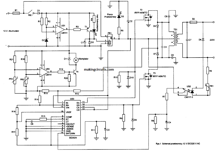 SG3525 Inverter Circuit with Output Voltage Correction