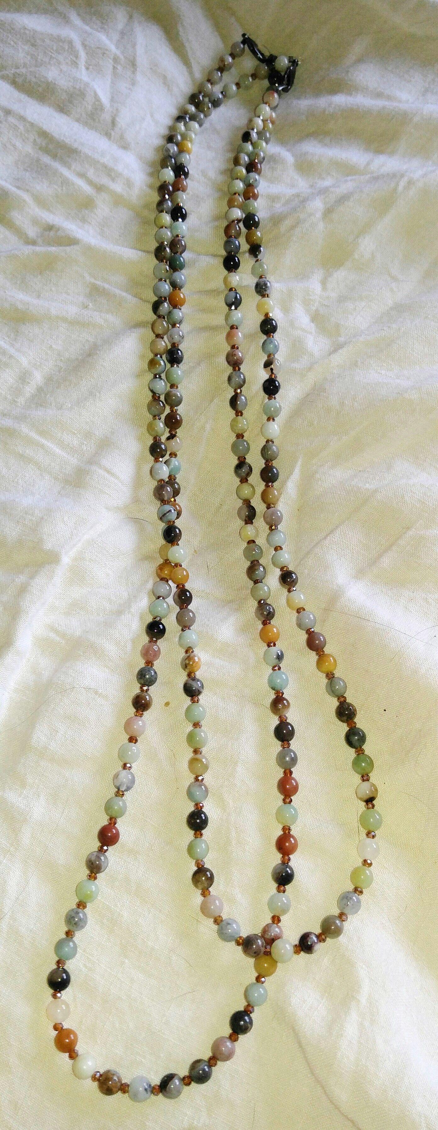 Long Multi Agate Necklace