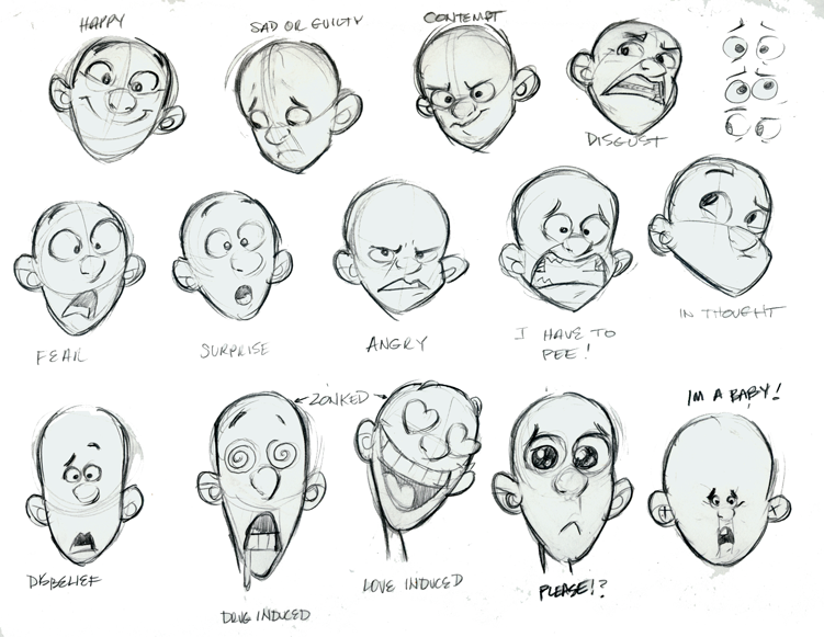 Drawing Lines With Emotion : Wonderful example of drawing a head with different angles