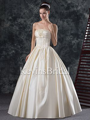 Ball Gown Winter Strapless Corset Applique Satin Long Bridal Gown - US$ 187.99 - Style KB0675 - Kevins Bridal