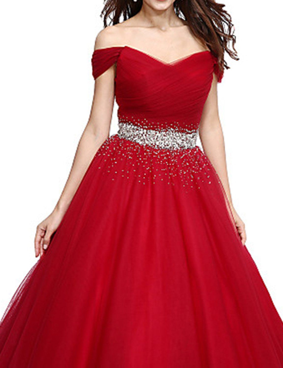 Udresses womens off shoulder prom dress long pageant ball gown