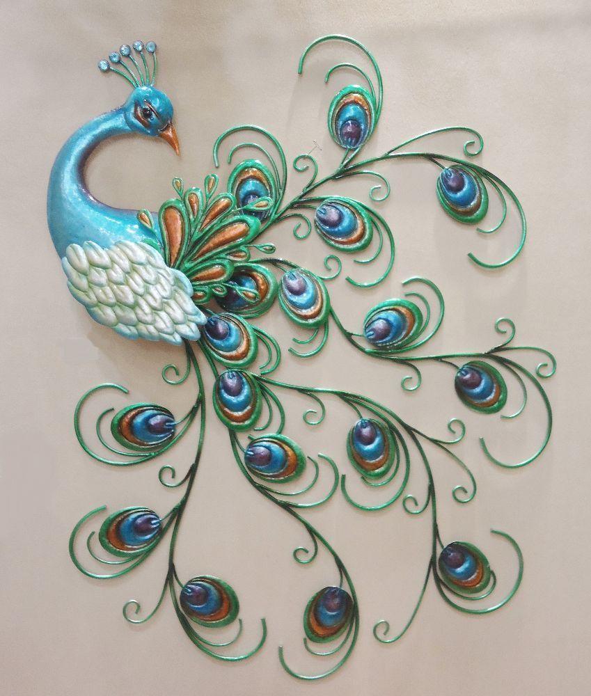 Pretty peacock wall art decor metal colorful hanging bird sculpture