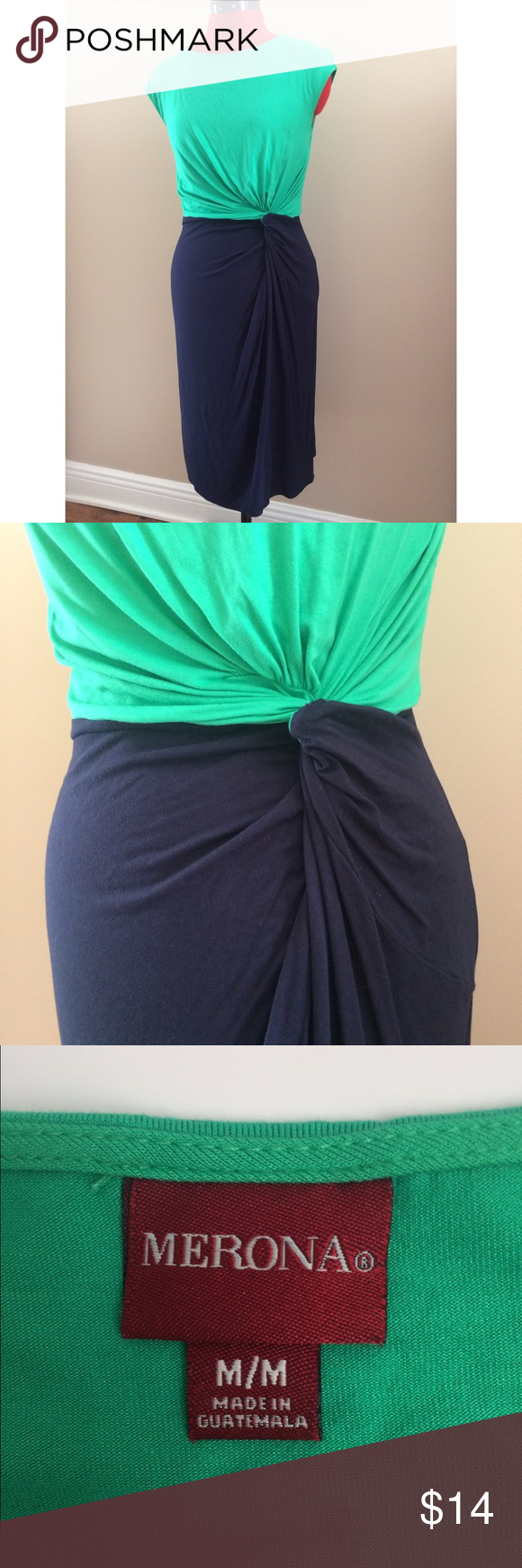 """{Merona} Summer Knotted Drape Dress Knotted drape dress. Navy and kelly green. Approx length from underarm 30"""". 95% rayon / 5% spandex. Merona Dresses"""