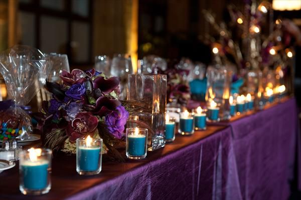 Teal Votive Candles With Purple Overlay Table Cloth Teal Wedding