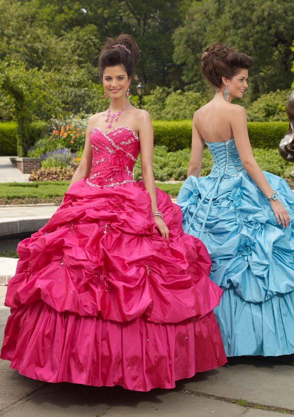 Unique sweetheart natural waist taffeta birthday party dress