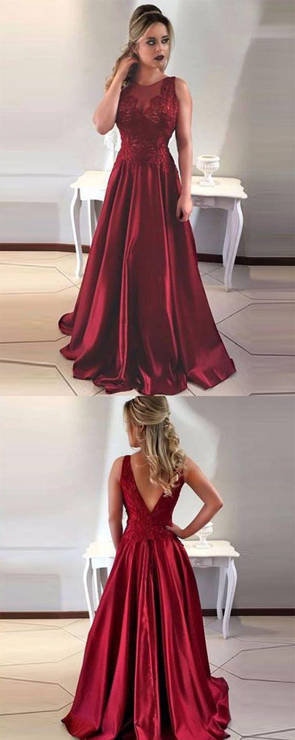 Aline round neck vback maroon satin prom dress with lace sidney
