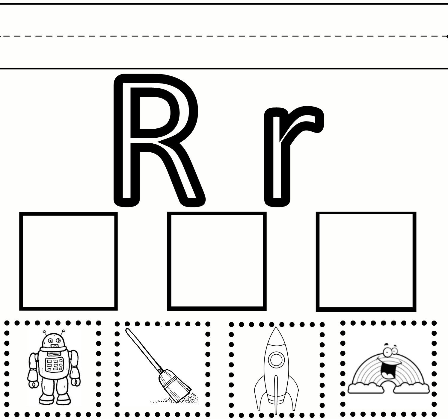 Preschool learning worksheet: Letter R - practice printing, coloring,  cutting