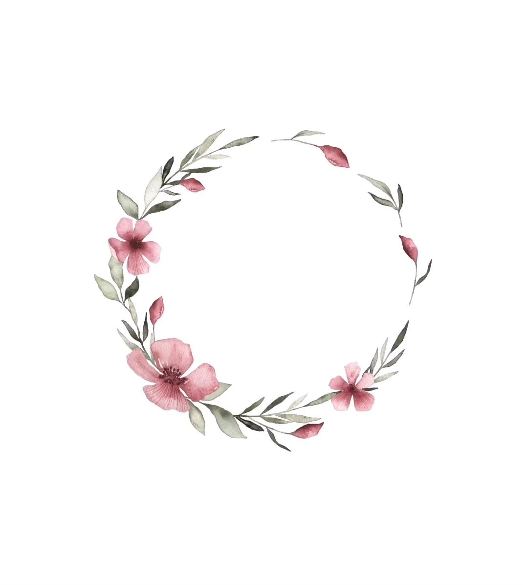 Photo of Floral watercolor wreath