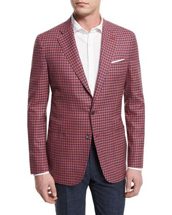 Isaia Check Two-Button Sport Coat, Red/Blue