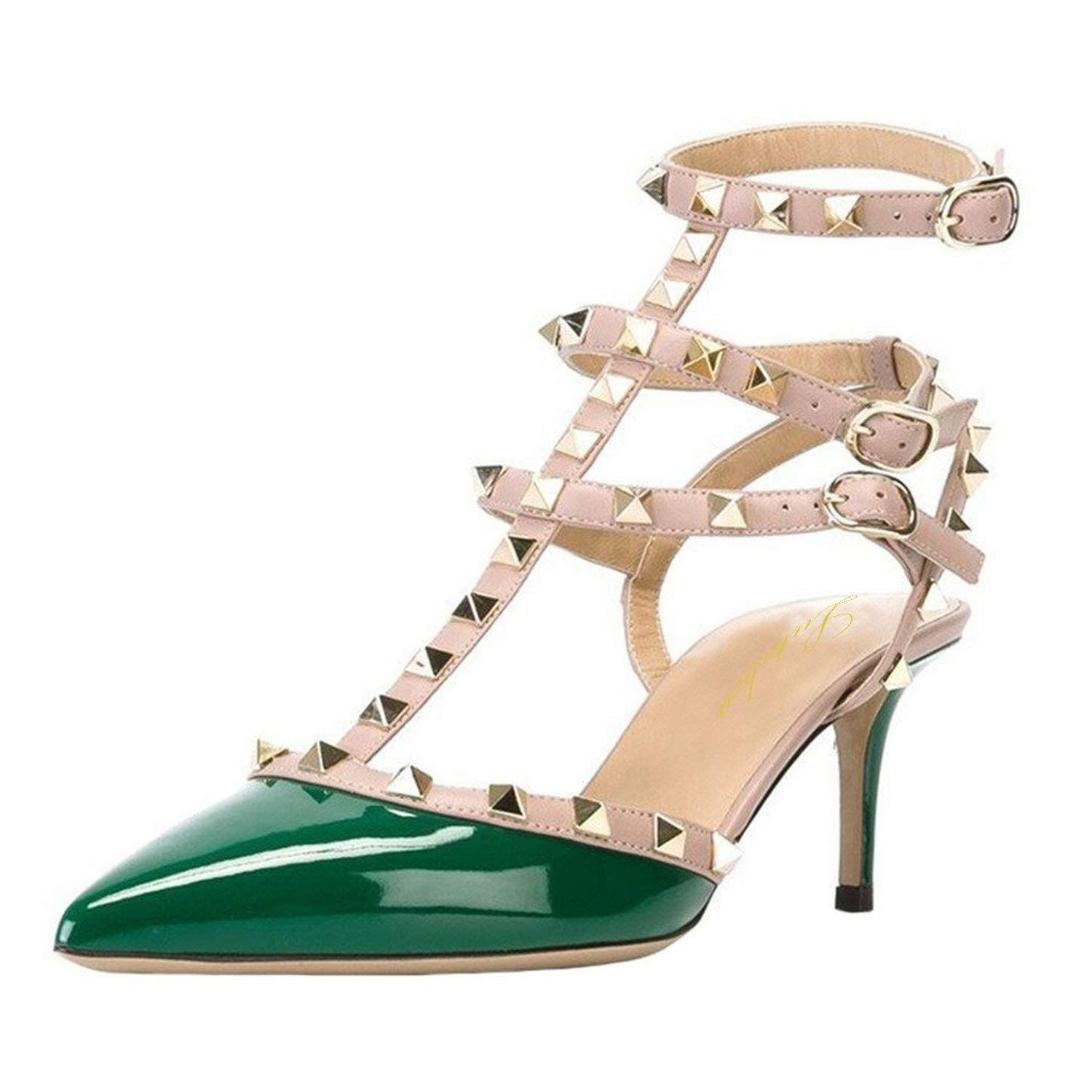 6069a9e30ad Lutalica Women Studded Sandals Pointed Toe Ankle Straps Kitten Heel Shoes  Size 5.5-12 US