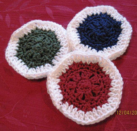 Crochet Christmas Coasters Red White Blue Green by GrandmaTerri ...