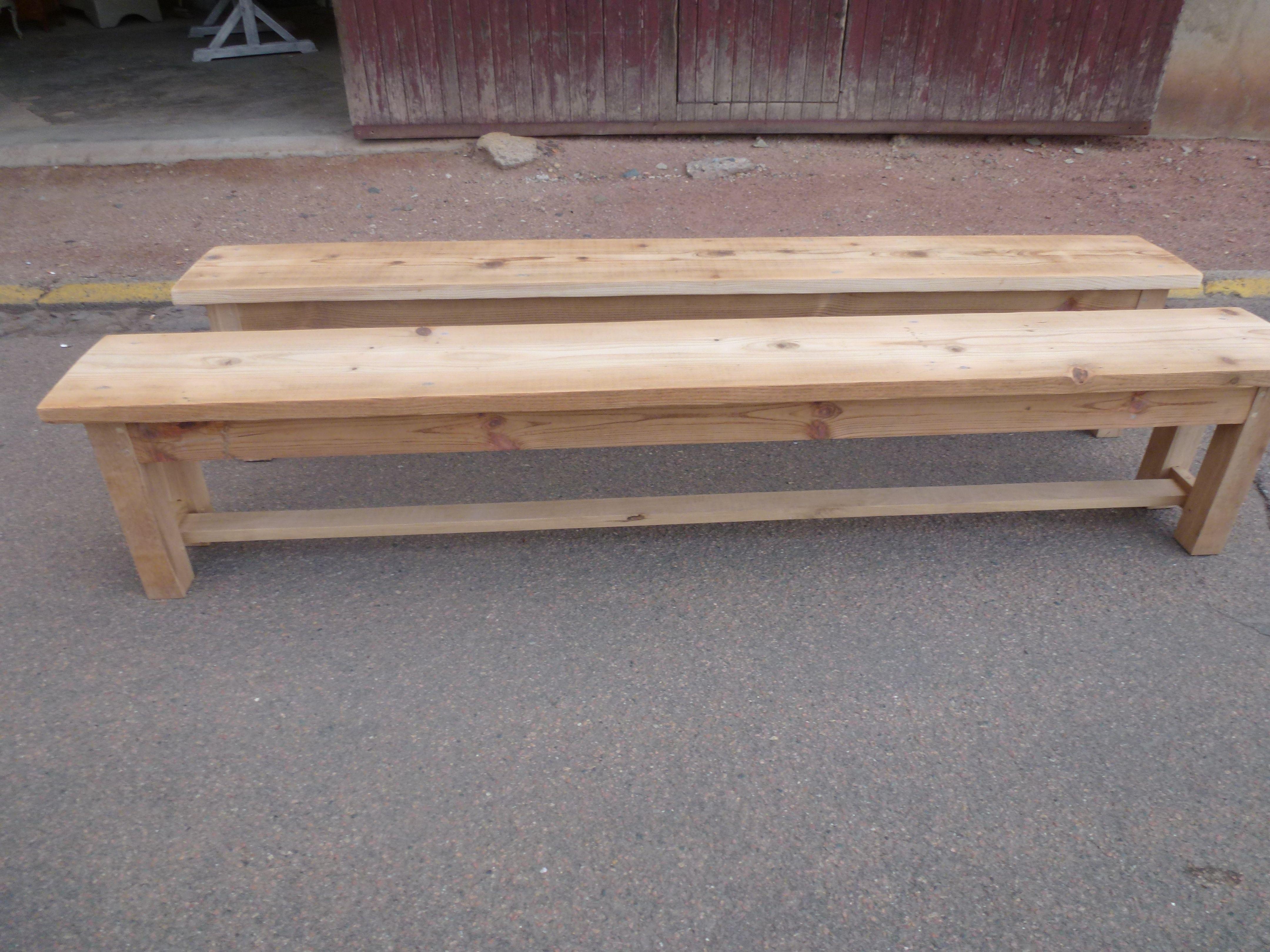 paire de bancs en chêne pour table de ferme; table de salle à ...