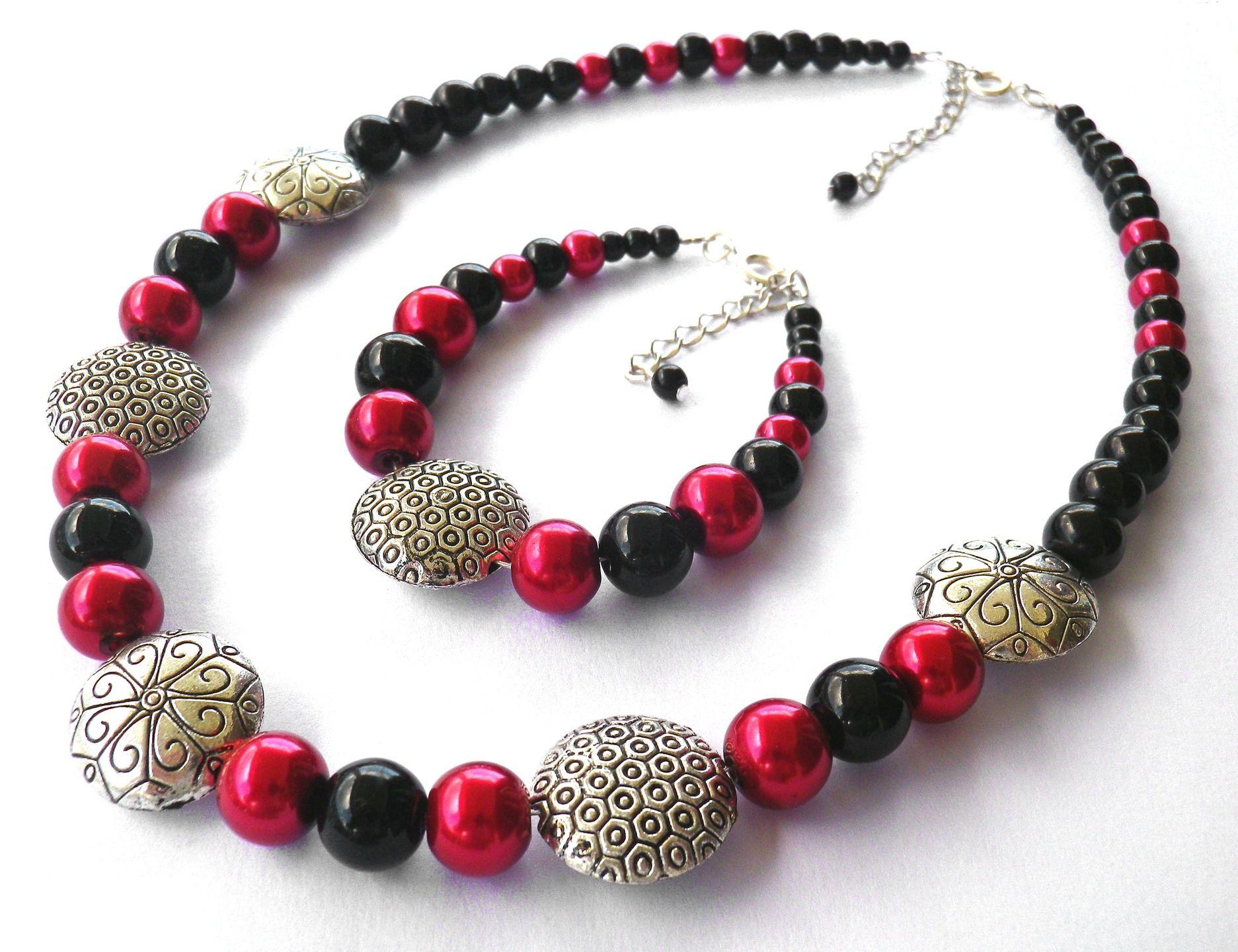 Cadeau femme Parure rouge et noire en perles de verre nacrées et argenté : Parure par milaekem-bijoux