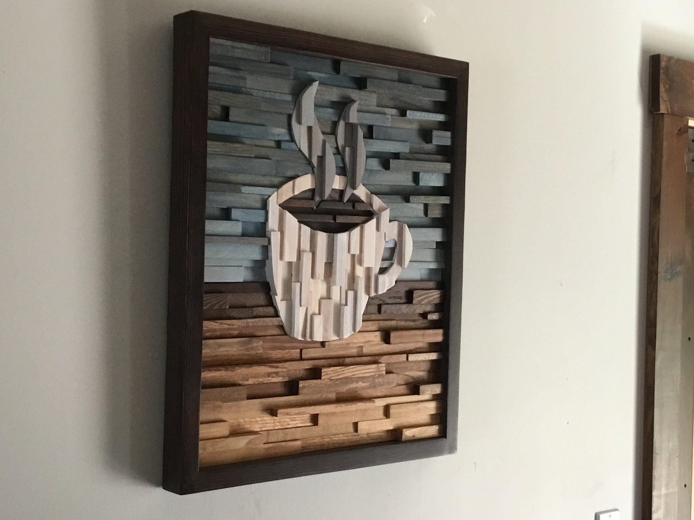 Wood Wall Art Coffee Wall Decor Cafe Art Kitchen Decor Home Decor