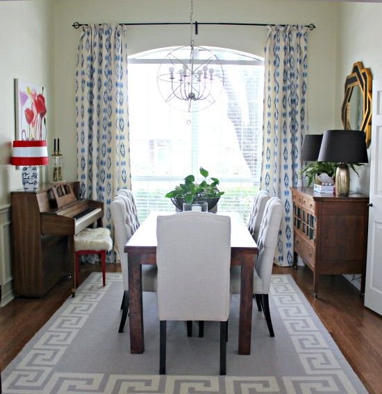 Dining Room Curtain Panels: Maybe. Piano In The Dining Room.