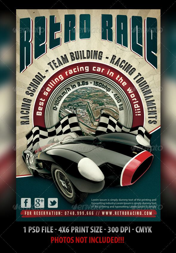 Auto Retro Flyer Psd templates, Template and Fonts - car flyer template