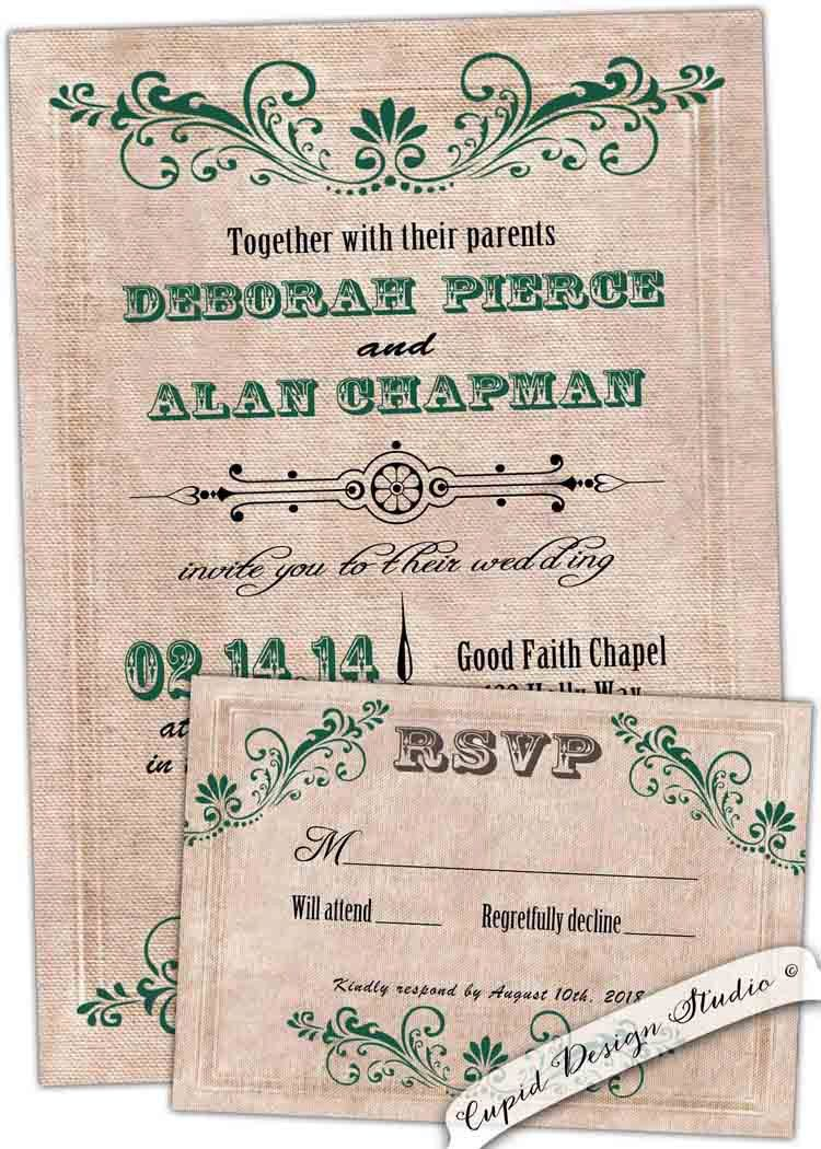 New to CupidDesigns on Etsy: Vintage green Wedding invitation ...