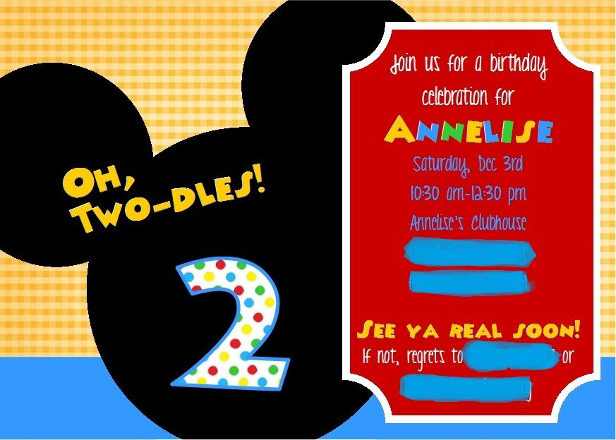 Crafting When I Can Mickey Mouse Clubhouse - 2nd Birthday Party - mickey mouse invitation template