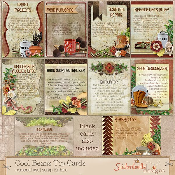A set of 10 Tip Cards. Each card has printed on it a useful tip on how to use coffee grounds, as well as a beautiful illustration of that tip.  Included:   10 illustrated Tip Cards