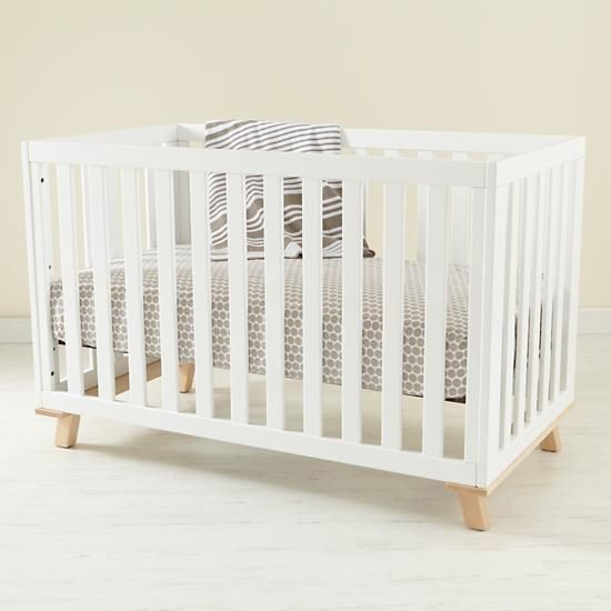 The Land of Nod | Baby Cribs: Baby Painted White Low Rise Modern Crib with Maple Base in Cribs & Bassinets