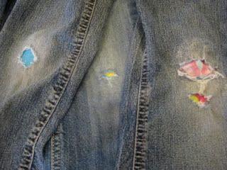 patch kids jeans using hot glue