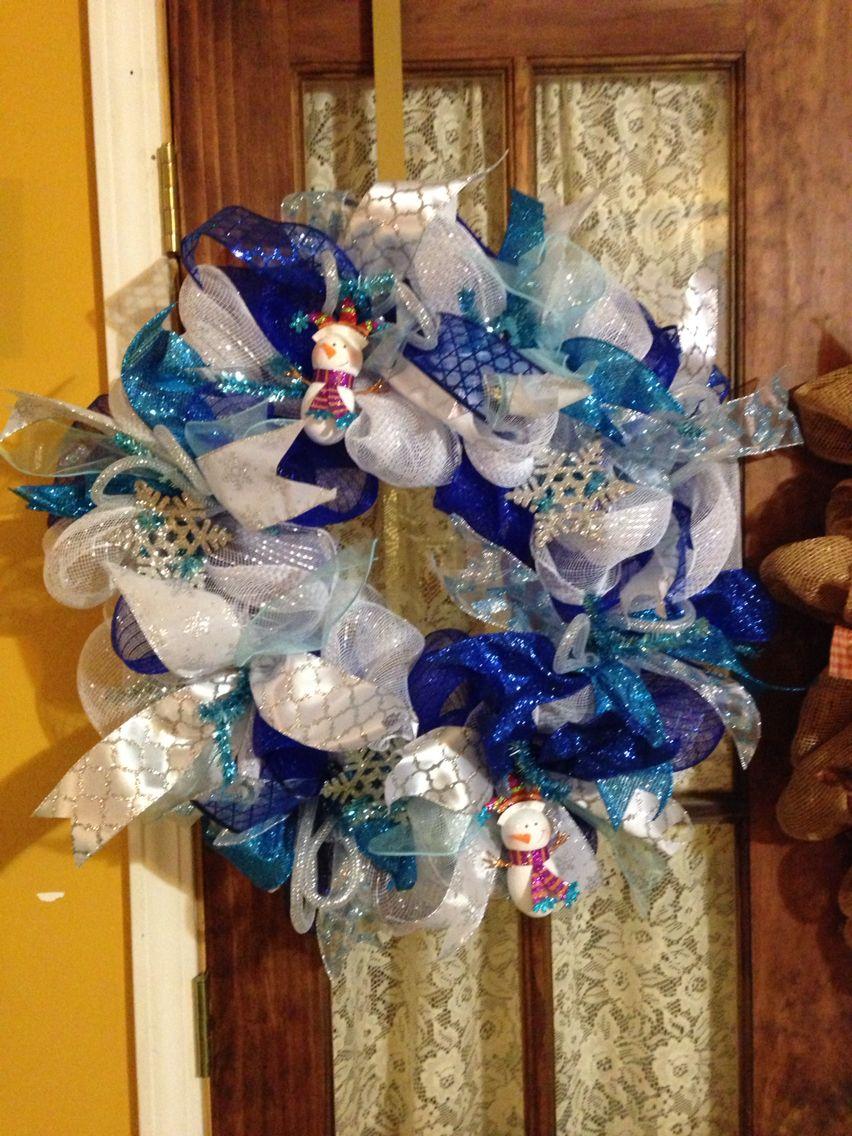Ice blue snowmen deco mesh wreath